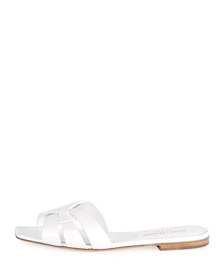 f62935cfdbf Saint Laurent Nu Pieds Flat Calf Leather Slide Sandal