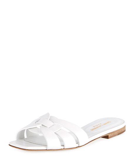 Saint Laurent Nu Pieds Flat Slide Sandal, White