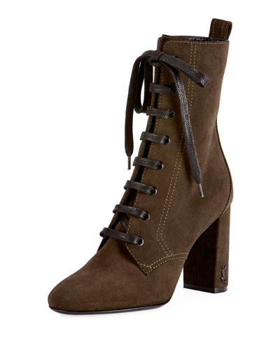 LouLou Suede Lace-Up Boot, Olive