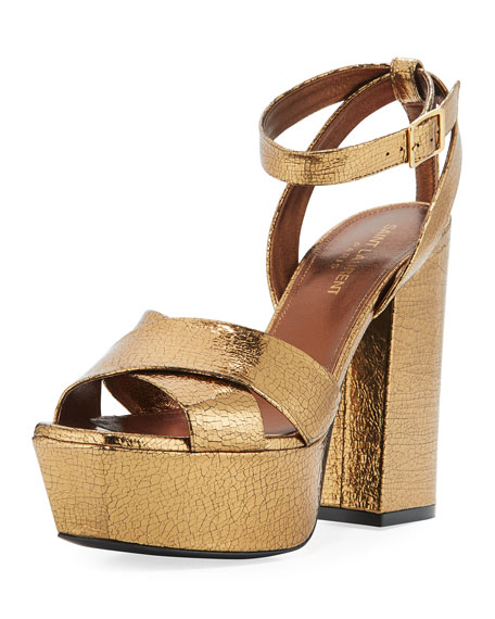 Saint Laurent Farrah Crackled Metallic Leather Platform Sandal,