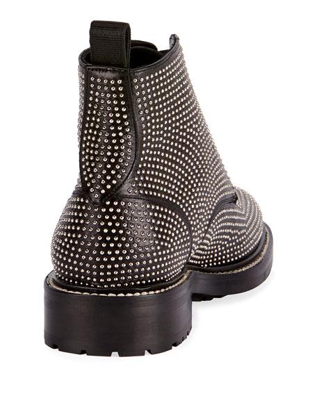 William Studded Leather Combat Boot, Black