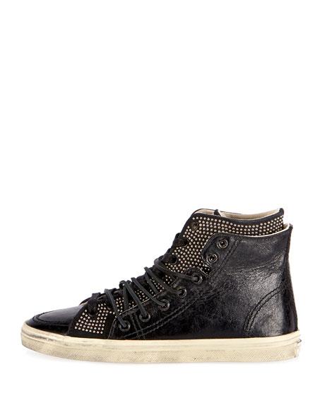 Rivington Studded Leather High-Top Sneaker, Black