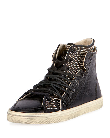Saint Laurent Rivington Studded Leather High-Top Sneaker, Black