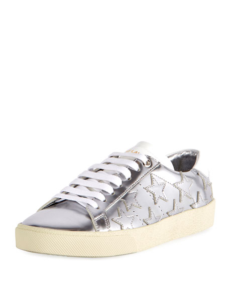 Saint Laurent Court Classic Star Low-Top Sneaker, Silver