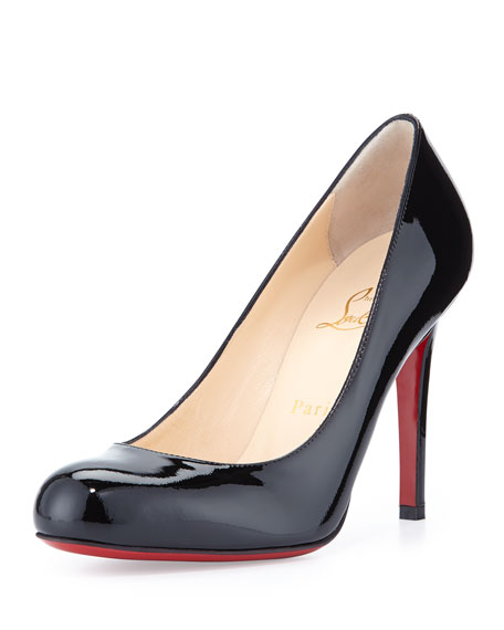 SIMPLE PATENT RED SOLE PUMPS, BLACK