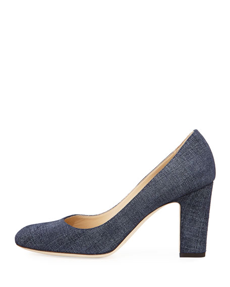 Billie Denim-Print Leather Pump, Blue