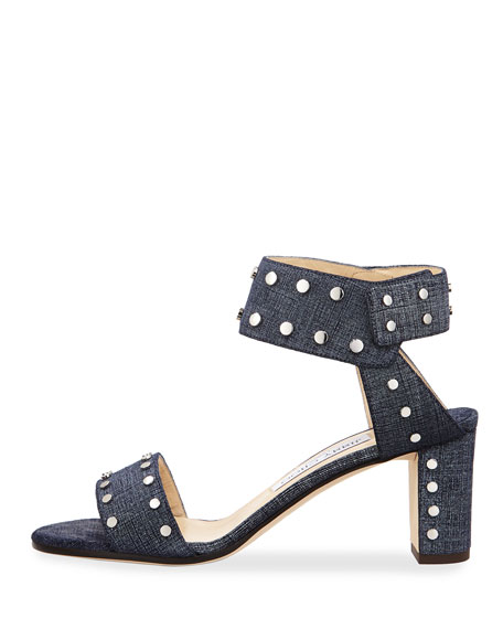 Romy Studded Ankle-Cuff Sandal, Blue