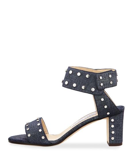 Romy Studded Ankle-Cuff Sandal, Blue