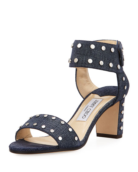 Jimmy Choo Romy Studded Ankle-Cuff Sandal, Blue