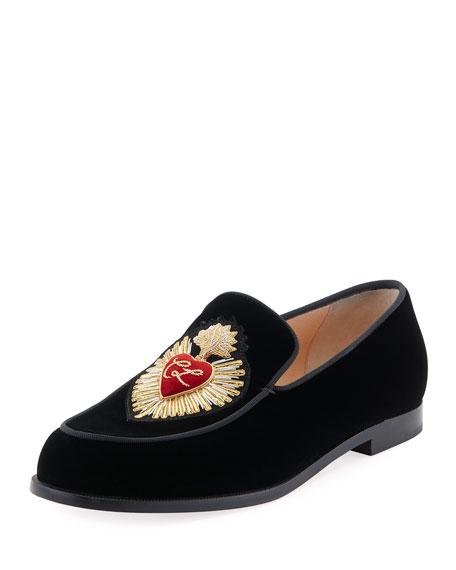 Perou Corazon Velvet Red Sole Loafer, Black