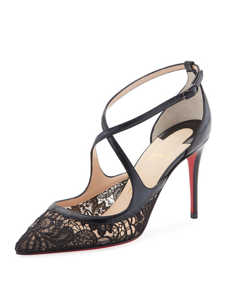 Twsitissima Lace Red Sole Pump, Black