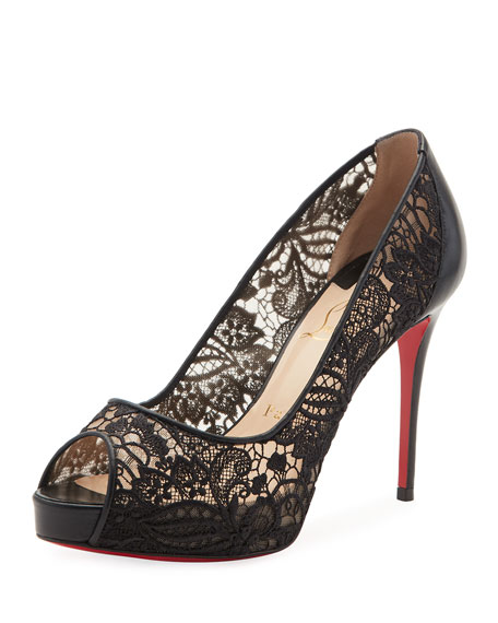 Very Lace Peep-Toe Red Sole Pump, Black