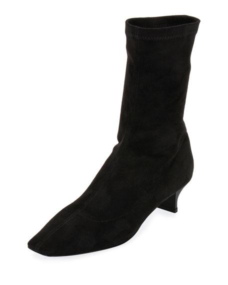 Stella McCartney Faux Stretch-Suede Bootie, Black