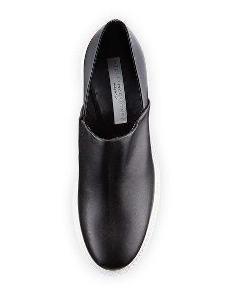 Faux-Leather Platform Lug-Sole Pump