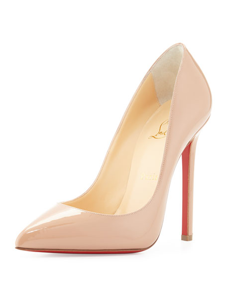 Pigalle Patent Leather Red Sole Pump, Nude