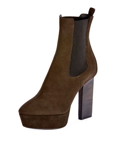 Saint Laurent Vika Suede Platform Ankle Boot, Olive