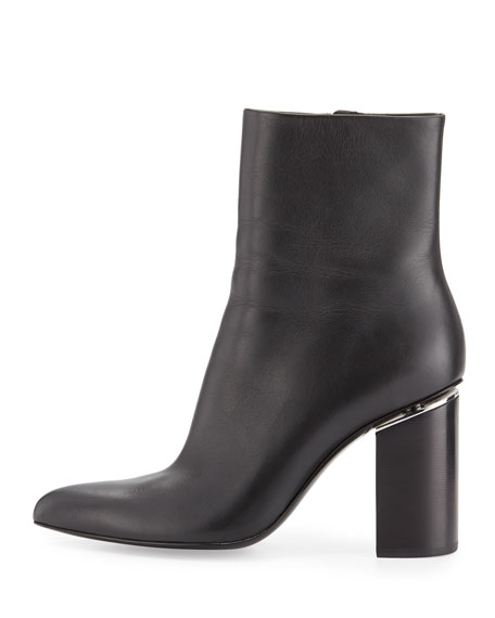 Kirby Leather Block-Heel Boot, Black