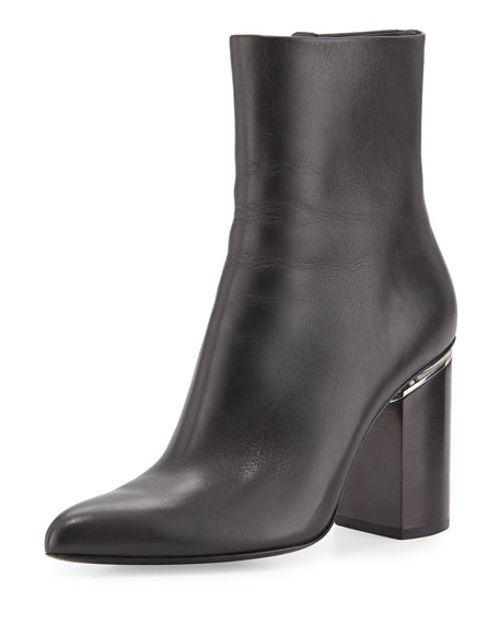 Alexander Wang Kirby Leather Block-Heel Boot, Black