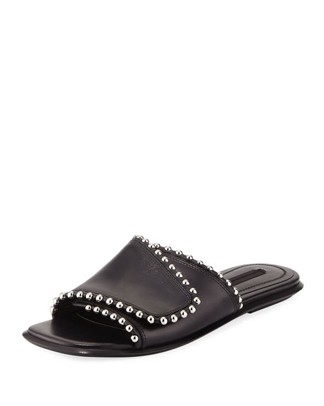069ed17fe7c Leidy Studded Leather Flat Slide Sandals Black