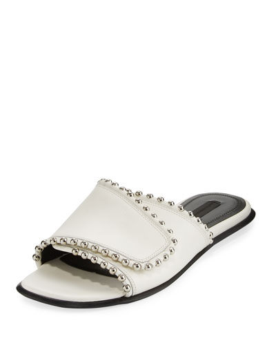 Leidy Studded Leather Slide Sandal, White