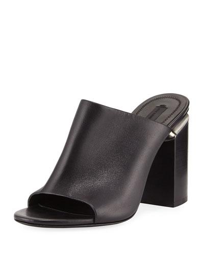 Avery Leather Block-Heel Mule Sandal, Black