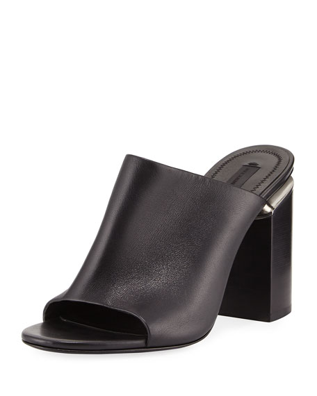 Alexander Wang Avery Leather Block-Heel Mule Sandal, Black
