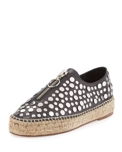 Devon Studded Zip-Front Espadrille, Black