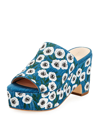 Amara Embroidered Denim Mule Sandal, Blue Pattern
