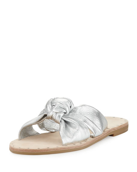 Lucia Knotted Leather Flat Slide Sandal, Silver