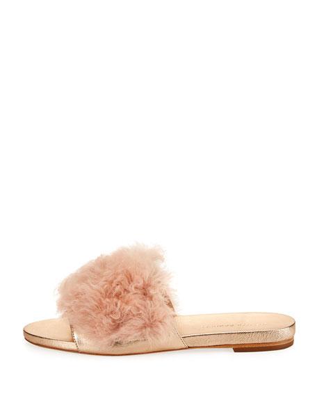 Domino Flat Shearling Fur Slide Sandal