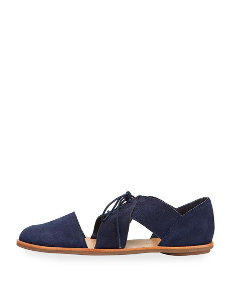 Willa Cutout Suede Oxford, Blue