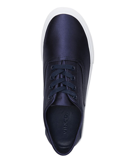 Coply Satin Lace-Up Sneaker, Navy