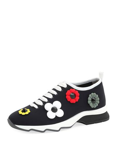 Floral-Embellished Neoprene Sneaker