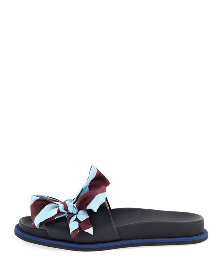 Ribbon-Laced One-Band Slide Sandal