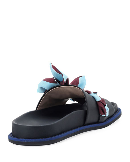 Ribbon-Laced One-Band Slide Sandal