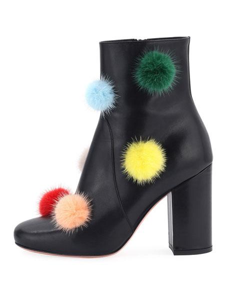 Mink Fur Pompom-Embellished Boot