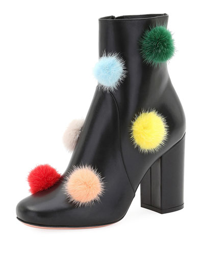 Mink Fur Pompom-Embellished Boot