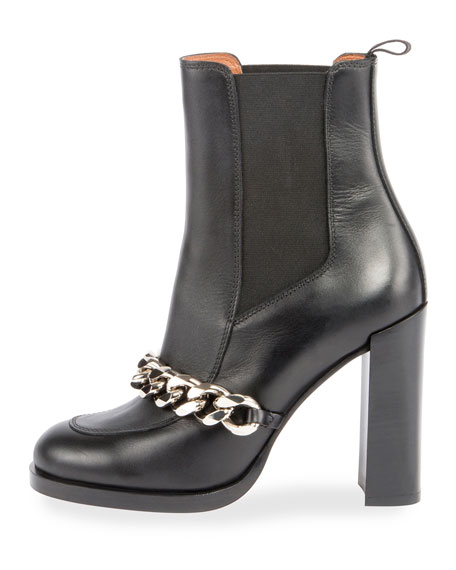 Chain Leather Chelsea Bootie, Black