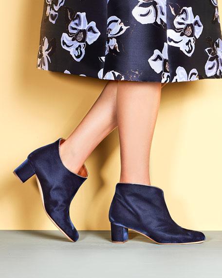 Eula Velvet Block-Heel Booties, Navy