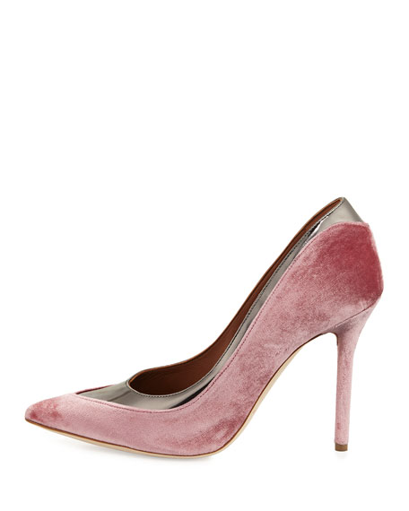 Emmanuelle Two-Tone Velvet 100mm Pump, Pink