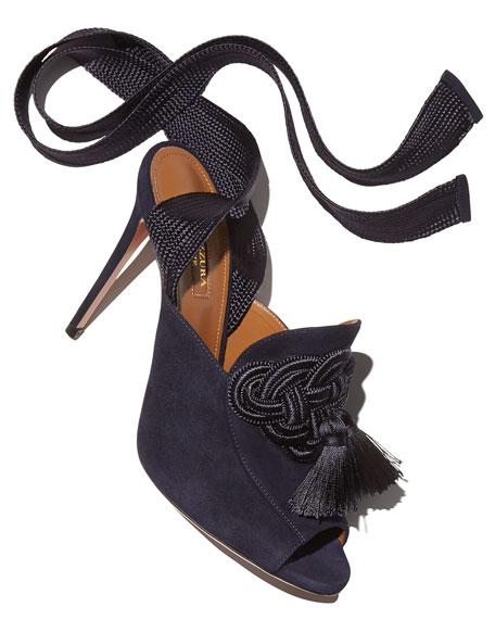 Legend Ankle-Wrap Suede Sandal, Navy