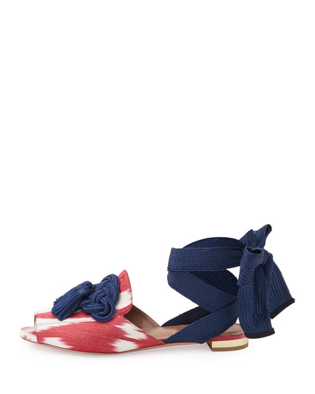 Legend Ikat Ankle-Wrap Flat, Red