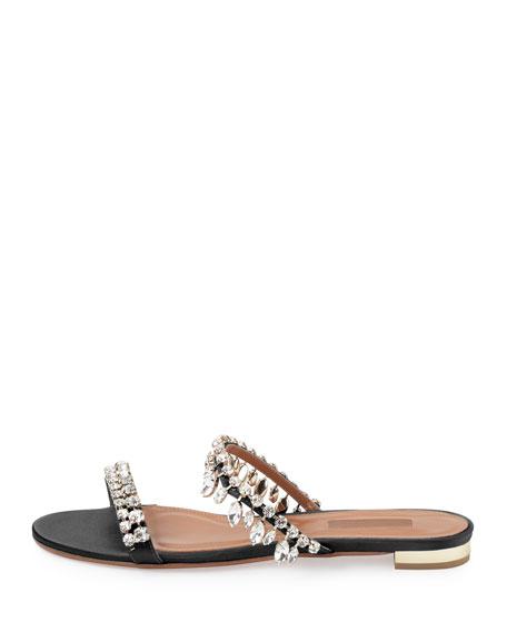 Eden Crystal-Embellished Slide Sandal, Black