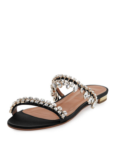 Eden Crystal-Embellished Slide Sandal, Black