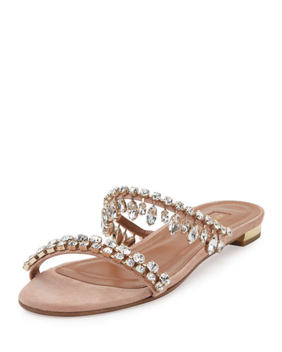 Eden Crystal-Embellished Slide Sandal, Light Pink