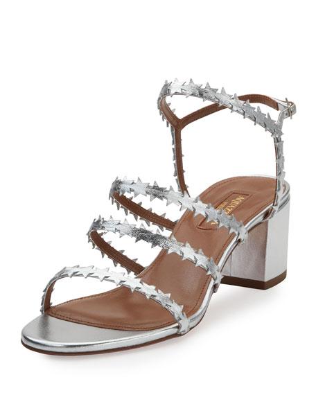 Starlight Multi-Strap Block-Heel Sandal, Silver
