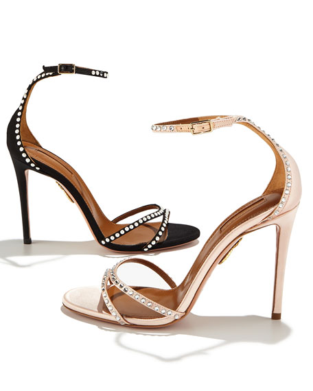 Puriest Pearly-Studded Sandal, Black