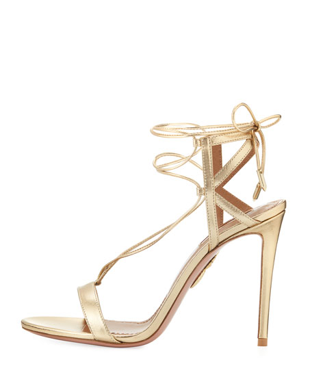 Metallic Leather Ankle-Tie Sandal