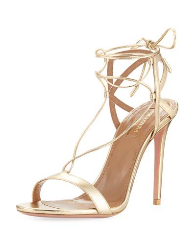 Metallic Leather Ankle-Tie Sandal