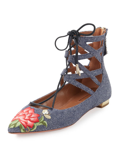 Aquazzura Belgravia Embroidered Denim Flat, Blue